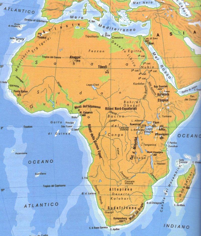 Africa Politica Cartina In Italiano.Cartina Muta Africa Fisica