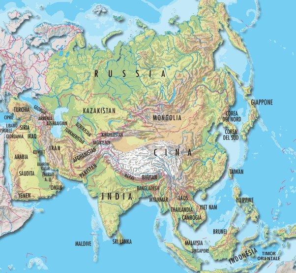 Cartina Asia Muta Fisica.Cartina Muta Asia Orientale